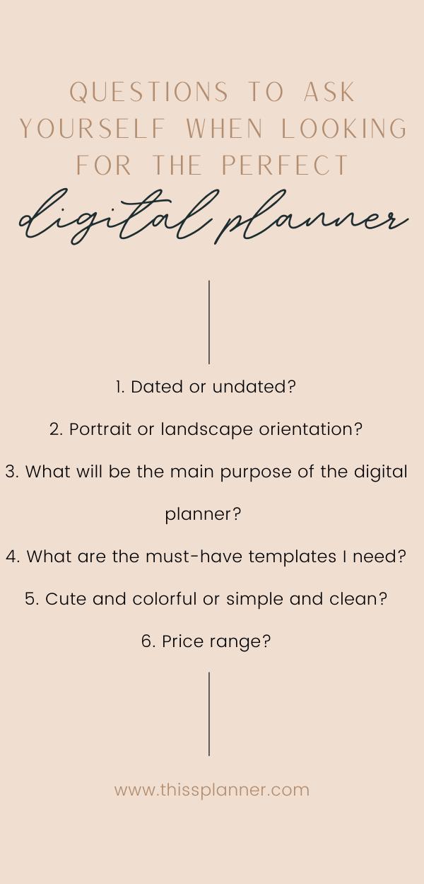 digital planner questions