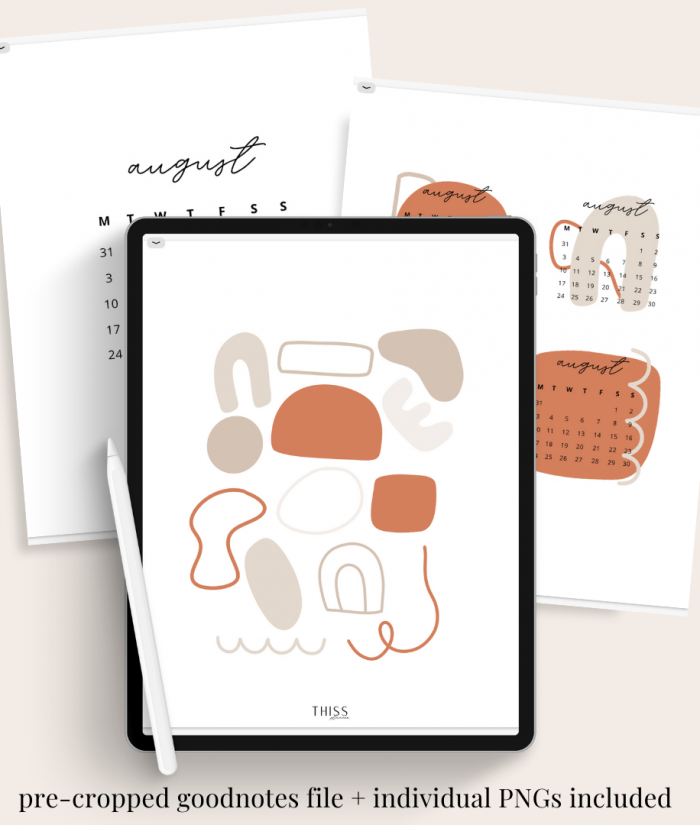 abstract DIY calendar set - aug