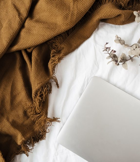 Minimal flat lay, top view lifestyle composition with laptop, eucalyptus branch, ginger plaid on white linen.